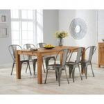 Verona 180cm Solid Oak Extending Dining Table with Tolix Industrial Style Dining Chairs