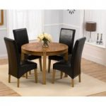Verona 110cm Solid Oak Round Dining Table with Brown Cannes Chairs