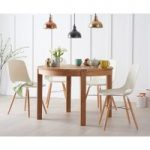 Verona 110cm Solid Oak Round Table with Nordic Wooden Leg Chairs