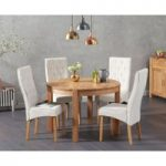 Verona 110cm Oak Round Dining Table with Jasper Chairs