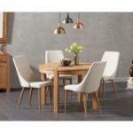 Verona 110cm Oak Round Dining Table with Ashbourne Fabric Chairs