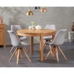 Verona 110cm Oak Round Dining Table with Ophelia Fabric Round Leg Chairs