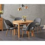 Verona 110cm Oak Round Dining Table with Harrogate Faux Leather Chairs