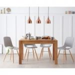 Verona 120cm Solid Oak Dining Table with Nordic Wooden Leg Chairs