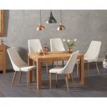 Verona 120cm Solid Oak Dining Table with Ashbourne Fabric Chairs