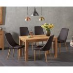 Verona 120cm Solid Oak Dining Table with Ashbourne Faux Leather Chairs