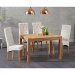 Verona 120cm Solid Oak Dining Table with Jasper Fabric Chairs