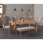 Verona 150cm Solid Oak Dining Table with Cora Fabric Chairs and Cora Grey Bench