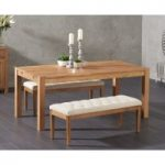 Verona 150cm Solid Oak Dining Table with Cora Cream Fabric Benches