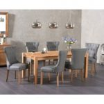 Verona 150cm Solid Oak Dining Table with Cora Grey Faux Leather Chairs