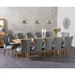 Verona 180cm Extending Solid Oak Dining Table with Cora Grey Faux Leather Chairs