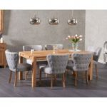 Verona 180cm Solid Oak Dining Table with Imogen Fabric Chairs