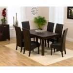 Verona 150cm Dark Solid Oak Extending Dining Table with 8 Dakota Chairs