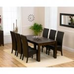 Verona 180cm Dark Solid Oak Dining Table with Brown Dakota Chairs
