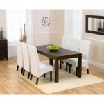 Verona 180cm Dark Solid Oak Extending Dining Table with 8 Dakota Chairs