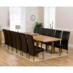 Rustique 220cm Solid Oak Extending Dining Table with Cannes Chairs