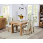 Yateley 130cm Oak Extending Dining Table with Cream Albany Chairs