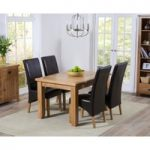 Yateley 130cm Oak Extending Dining Table with Brown Cannes Chairs