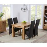 Yateley 130cm Oak Extending Dining Table with Charcoal Grey Henley Fabric Dining Chairs