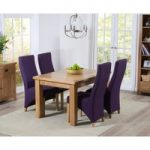Yateley 130cm Oak Extending Dining Table with Plum Purple Henley Fabric Dining Chairs