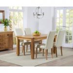 Yateley 140cm Oak Dining Table with Cream Albany Chairs