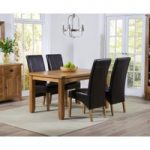 Yateley 140cm Oak Dining Table with Black Venezia Chairs