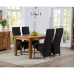 Yateley 140cm Oak Dining Table with Charcoal Grey Henley Fabric Chairs